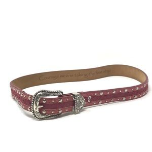 Ariat red leather silver studded belt western 32